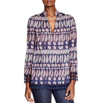 Tory Burch Womens Printed Lace-Trim Tunic Top