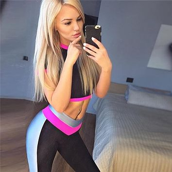 2018 Fashion Brand Women Tracksuit Sportswear Two Piece Set Workout Leggings Crop Top Sporting Suits for Women Tracksuit Set