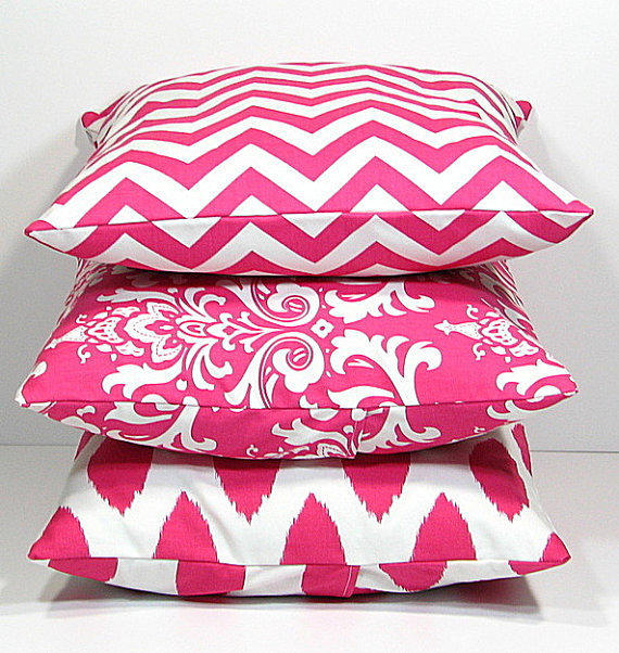 Hot PINK Pillows Decorative Pillows TRIO from beckorama on Etsy