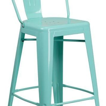 30'' High Metal Indoor-Outdoor Barstool with Back (Multiple Colors)