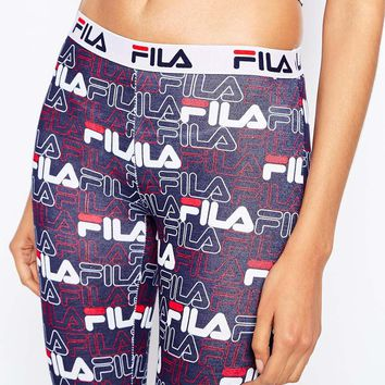 Fila Leggings With All Over Logo Print & Tape Detail