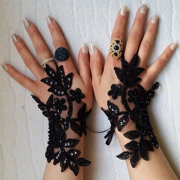 Beaded black, lace wedding gloves, costume gloves free shipping!