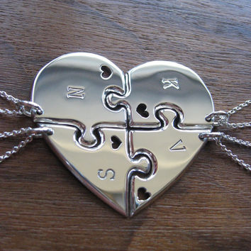 Four Piece Heart Best Friend Pendant Necklaces with Hearts
