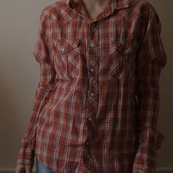 Urban Outfitters Salt Valley Western Button Down Relaxed Fit Oversized Boyfriend Style Cowboy Plaid Shirt In Domingo