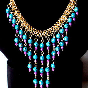 Teal and purple necklace, statement necklace, teal and purple bauble necklace, teal and purple bib necklace, teal and purple collar necklace