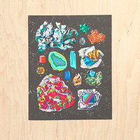 """Small Unframed Gem and Crystal Illustrated Chart #1 (8"""" X 10"""")"""