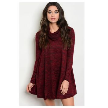 """Adorable Me"" Cowl Neck Burgundy Pepper Tunic Dress"