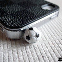 SALE30OFF Miniature Soccer iPhone Plug  Phone Charm  by CocoonByWL