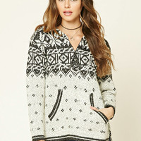 Abstract Print Knit Hoodie