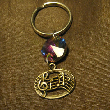 Music notes  Sheet music  in antique bronze key chain with electroplate glass bead