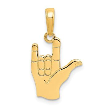 14k Yellow Gold I Love You Hand/Sign Language Pendant, 12mm