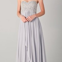 Marchesa Strapless Empire Gown with Beaded Bodice