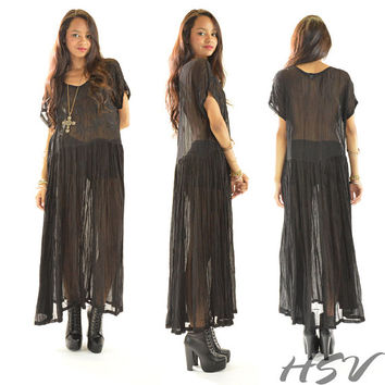 VTG Sheer Gauze India Embroidered Boho Draped Black Festival Maxi Dress