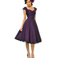 BEST SELLER! Stop Staring! Mad Men Eggplant Pleated Bodice Cap Sleeve Swing Dress | Unique Vintage