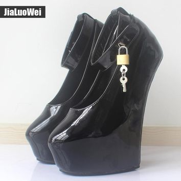 2017 20cm High Heels Women Exotic Fetish Wedge Ballet Boots Patent Leather Padlocks Pointed toe Party Pumps Woman Platform Shoes
