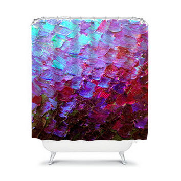 MERMAID SCALES Deep Purple Ombre Art Painting Shower Curtain Washable Home Decor Abstract Colorful Aqua Eggplant Ocean Waves Modern Bathroom