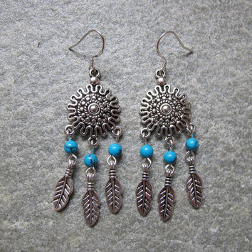 Antique Silver Dream Catcher Earrings , Feather Earrings, Turquoise Beads Earrings ,Native American Jewelry