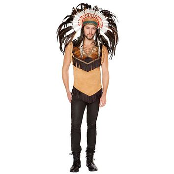 Sexy Native Indian Lace-Up Chieftain Shirt with Fringe and Feather Trim