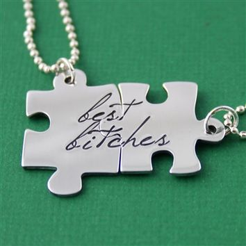 Best Bitches Puzzle Piece Necklace Set - Spiffing Jewelry