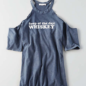 Don't Ask Why Cold Shoulder T-Shirt , Navy