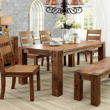 CM3603T-6PC 6 pc frontier dark oak finish wood rustic block style dining table set with bench