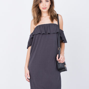 Ruffled Rib Knit Dress