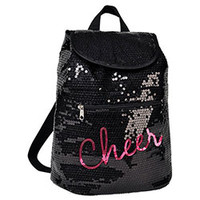 Super Cool Black Sequin Cheerleading Backpack with Hot Pink Cheer Sequin Script