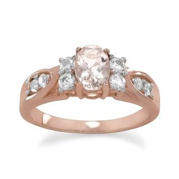 14K Rose Gold Natural Peach Oval Cut Morganite & White Topaz Ring
