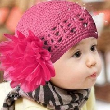 New Fashion Flower Hair Band Hats Toddlers Infant Baby Girls Winter Knitted Warm Headband Headwear Hat Caps for Kids