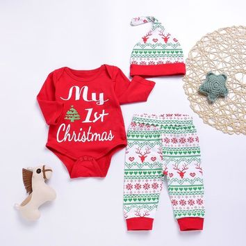 My First Christmas Infant Baby Girl Long Sleeve Romper Jumpsuit Outfit Sunsuit Pants Hats 3pcs Newborn Boys Clothing Sets Autumn