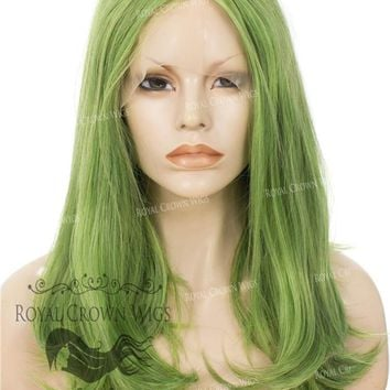 """17"""" Heat Safe Synthetic Lace Front """"Victoria"""" Bob with Straight Texture in Galaxy Green"""