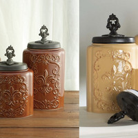 3 Piece Fleur de Lis Canister Set Antique Brown or Cream Ceramic Kitchen Storage