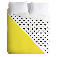 Allyson Johnson Chartreuse n triangles Duvet Cover
