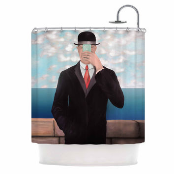 "Theresa Giolzetti ""The Son Of Apple"" Blue Black Shower Curtain"