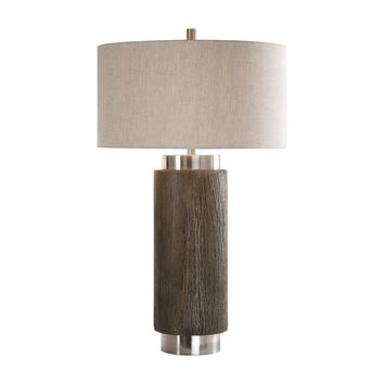 Cheraw Contemporary Wood Cylinder Table Lamp by Uttermost