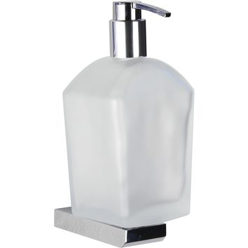 Kin Quattro Wall Frosted Glass Bath Pump Soap Lotion Dispenser, Brass