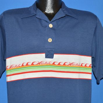 80s Waves Surfing Beach Rainbow Striped Polo shirt Medium