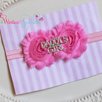 Baby Headband..Baby Girl Headband..Newborn Headband..Infant Headband..Baby Bow Headbands-Daddy's girl headband