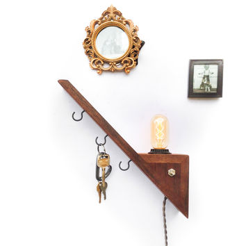 Entryway Shelf Edison Lamp Key Organizer