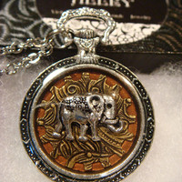 Silver Elephant over Gear Pocket Watch Style Pendant Necklace (1902)