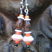 Orange Bead Earrings, Black White Earrings, Chunky Earrings, Orange Jewelry,Gift Idea Women, Dangle Bead Earrings, Multi Color Bead Earrings