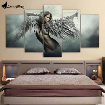 HD printed 5 piece canvas art sets fantasy angel warrior wing painting room decor anime girl poster Free shipping/NY-5780