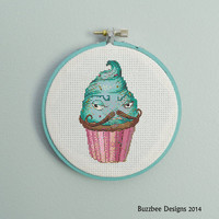 oh la la french cupcake - pdf cross stitch pattern - cuppy cake, mustache, pink, blue, turquoise INSTANT DOWNLOAD