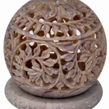 SouvNear Tealight Holder with Flower Motifs and Intricate Tendril Openwork - Decorative Home Decor Soapstone Centrepiece for Party Lights - Mother's Day Decoration