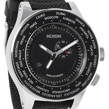 Men's Nixon 'The Passport' Watch, 49mm - Black/ Silver