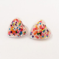 Resin Heart Stud Earrings filled with Real Candy Sprinkles