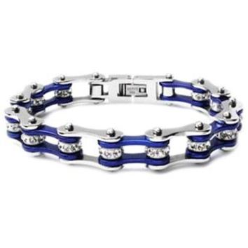 Silver & Candy Blue Bike Chain Bracelet with Crystals