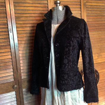 Black Velvet Bohemian Jacket Upcycled with Patches for a Hobo Chic Tattered Style Size medium
