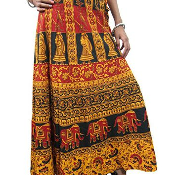 Mogul Women's Wrap Around Skirt Yellow Animal Printed Long Maxi Beach Wrap