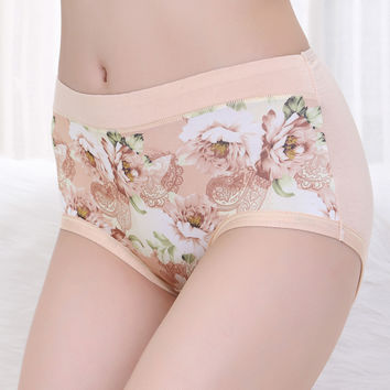 2Pcs.  Women's briefs lingeries Plus size 4XL Modal Peony printing high waist underwear women panties